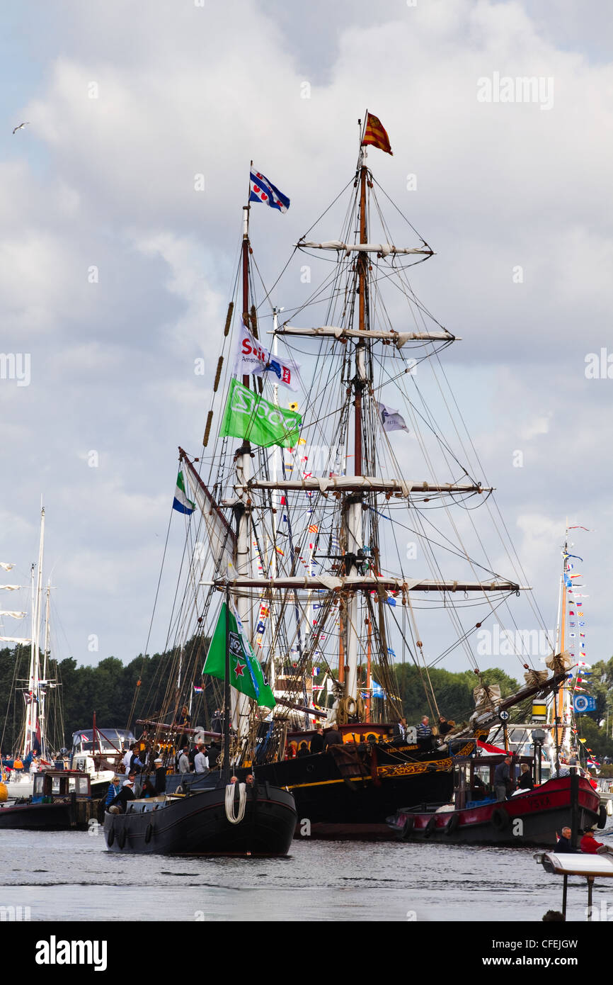 Amsterdam Sail 2010 event in the Netherlands starts with the spectacular Sail-in Parade. - Stock Image