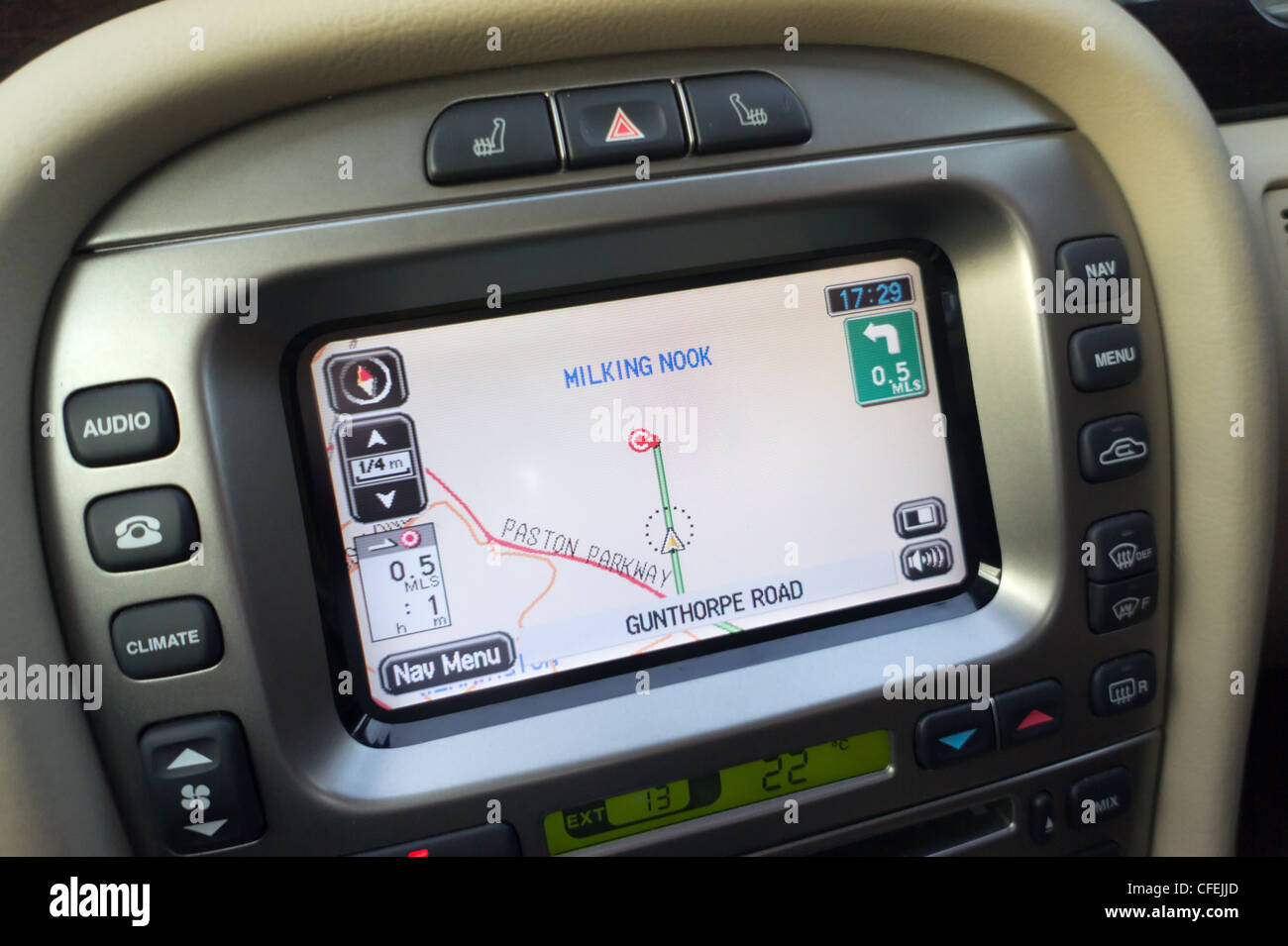 Satnav screen in a Jaguar x-type. - Stock Image