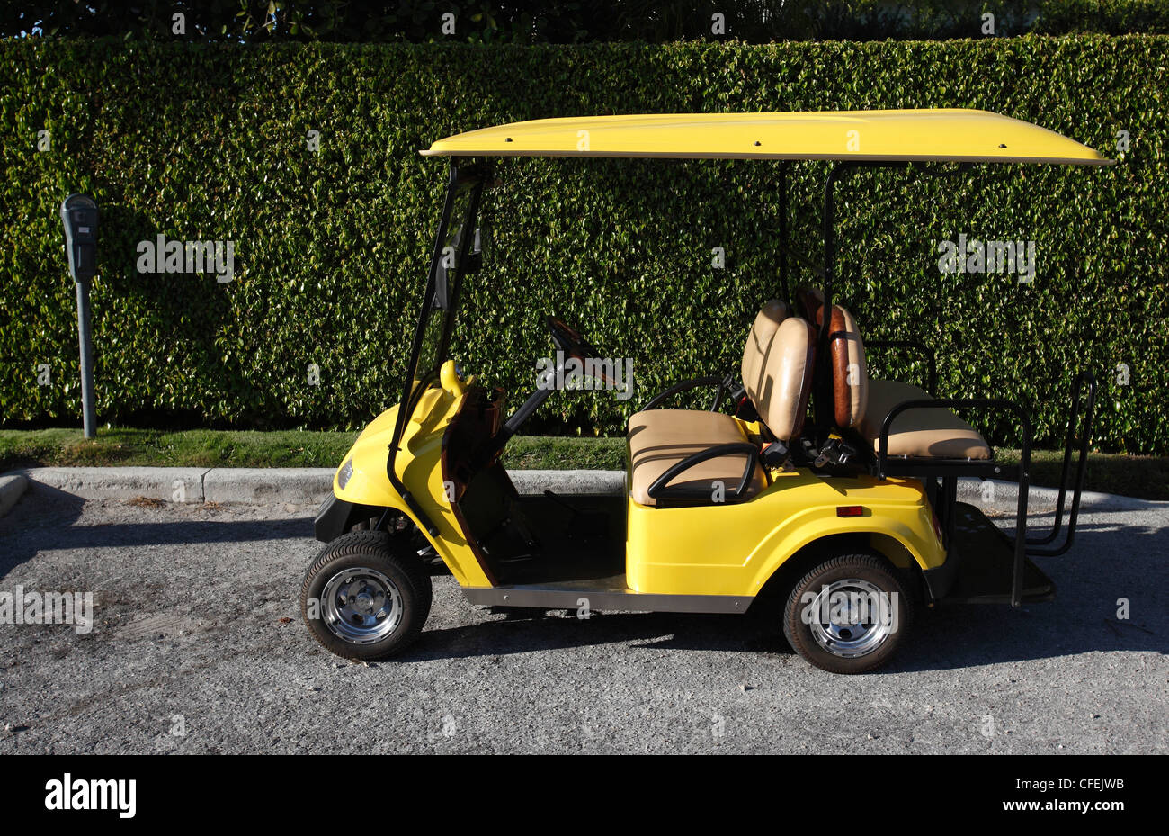 Golf cart parked at a parking meter in Naples, Florida - Stock Image