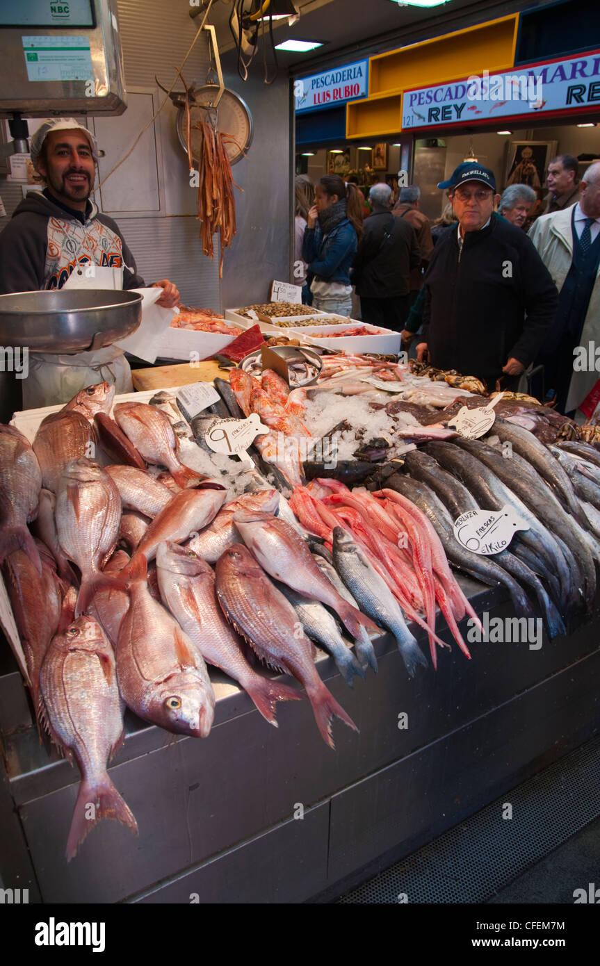 Seafood department Mercado Central de Atarazanas market hall Malaga Andalusia Spain Europe Stock Photo