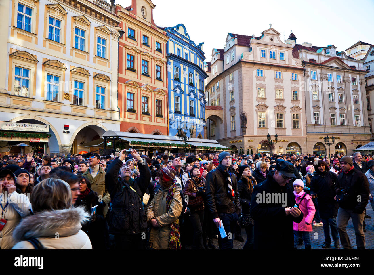 Tourists gathered to watch the Astronomical Clock striking the hour in Prague, Czech Republic - Stock Image