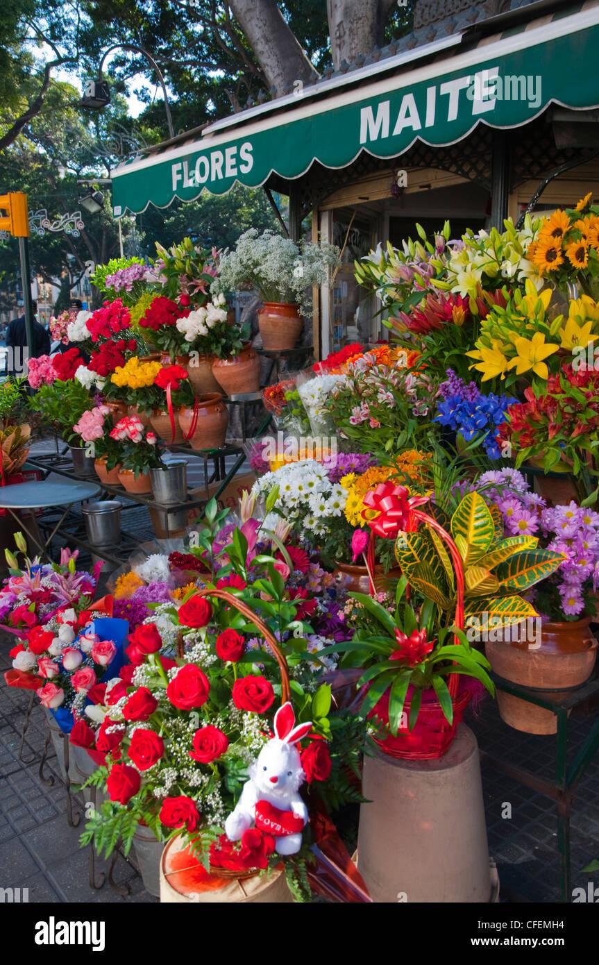 Florist along Alameda Principal boulevard central Malaga Andalusia Spain Europe - Stock Image