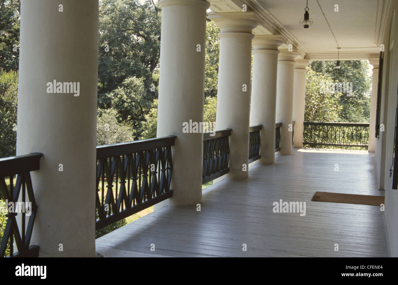USA Vacherie Louisiana Oak Alley Plantation Veranda  - Stock Image