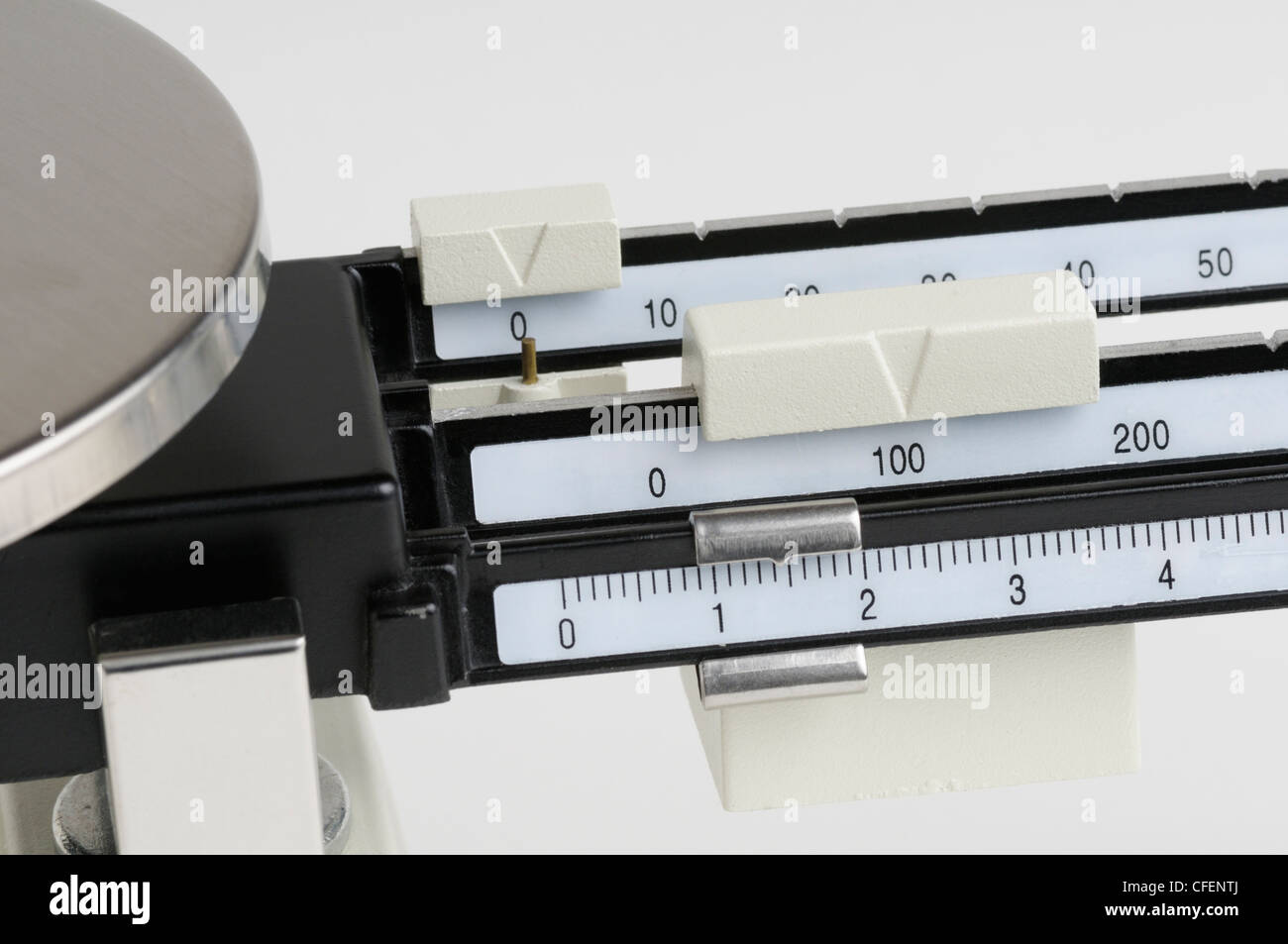 triple beam balance for taking the mass of chemicals stock photo