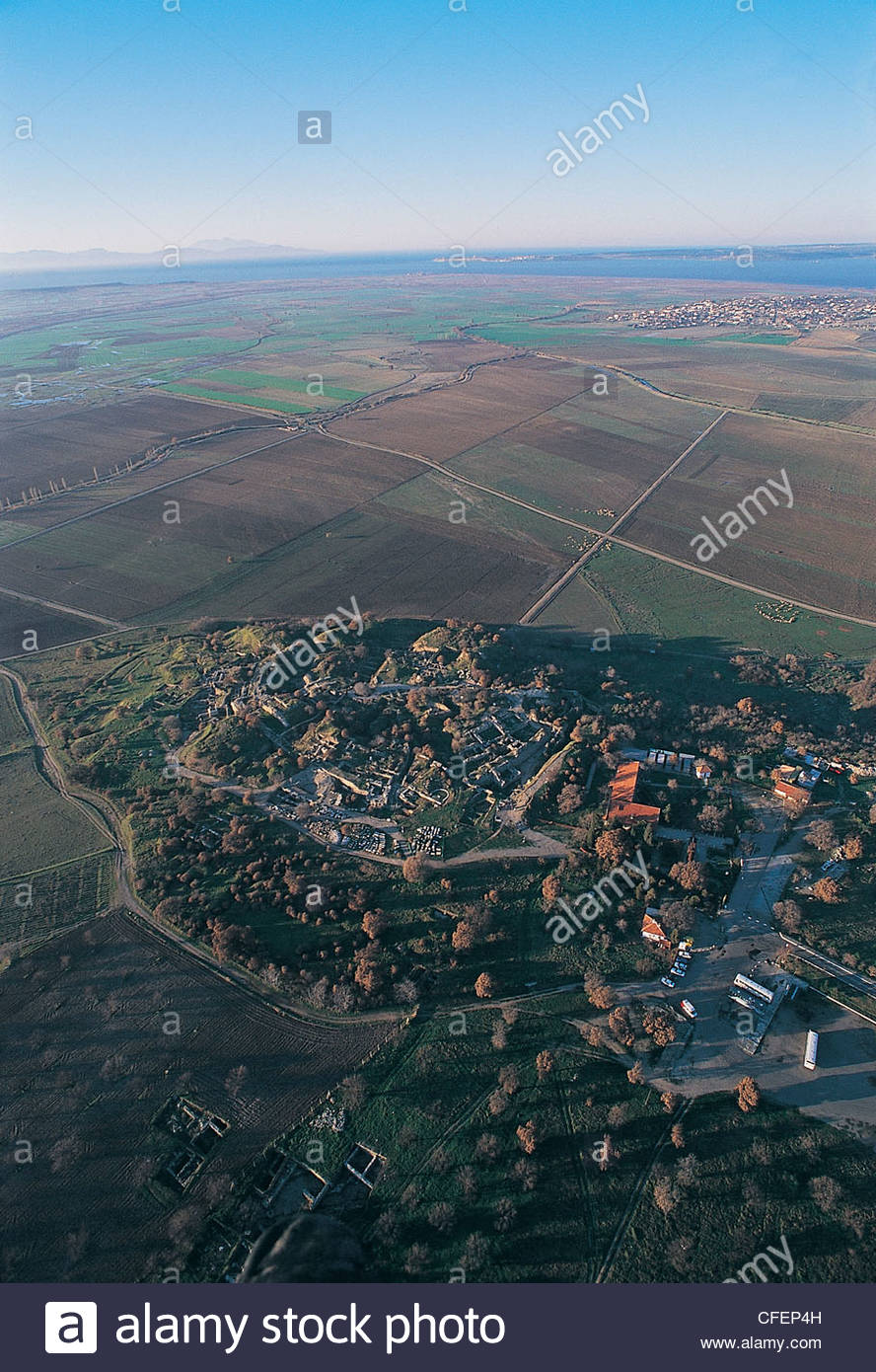 Aerial view of Troy ancient city  and Dardanelles Turkey - Stock Image
