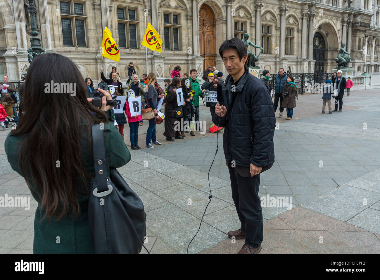 Paris, France, Japanese Journalists at Anti Nuclear Power Activists Demonstrating on Anniversary of Fukushima Disaster, - Stock Image