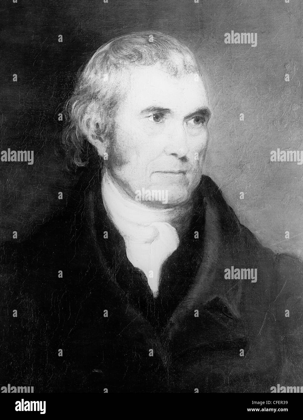 Vintage portrait painting of American statesman and judge John Marshall (1755 - 1835) - the fourth US Chief Justice Stock Photo