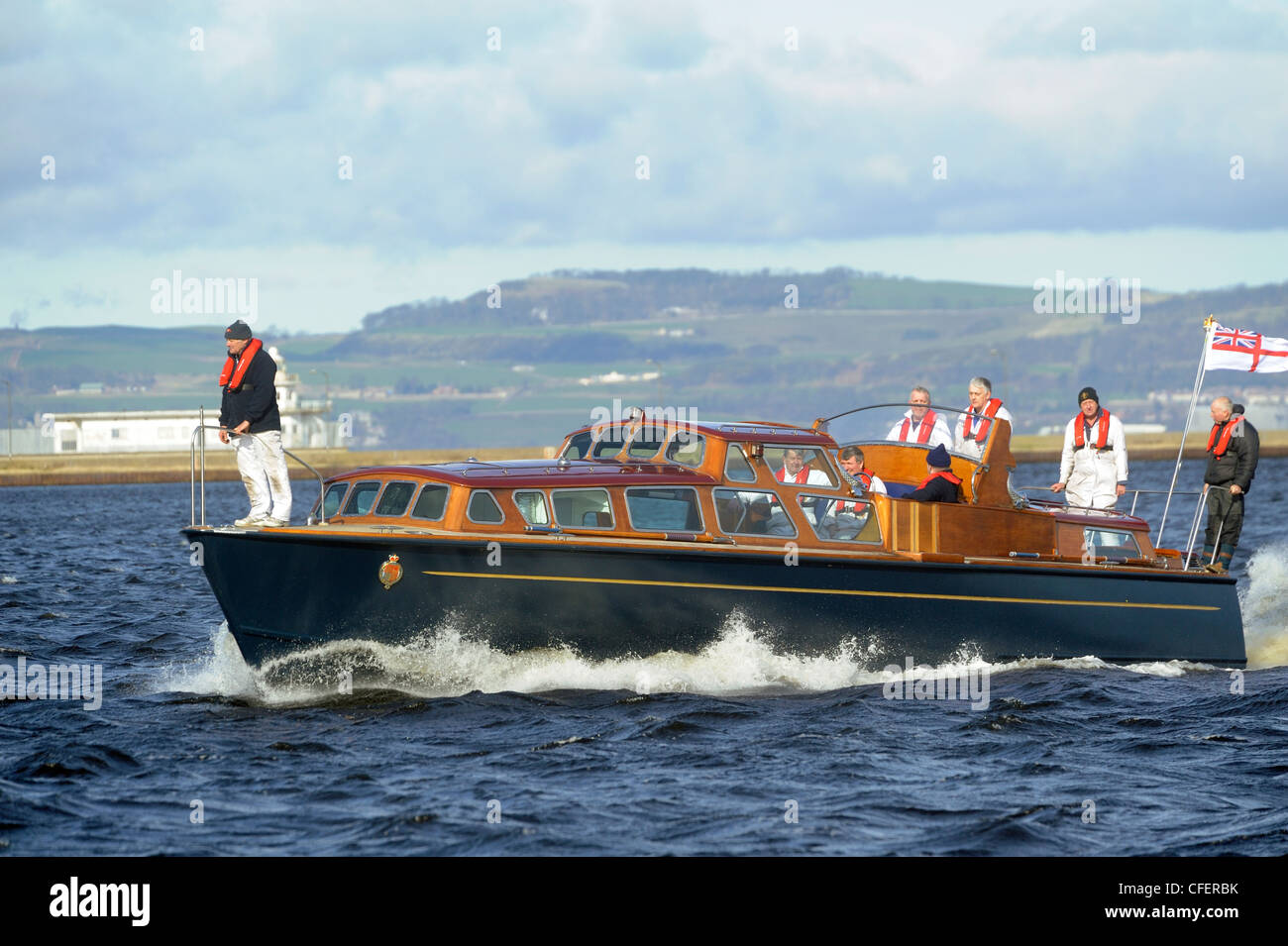 Royal Yacht Britannia barge on a sea trial in Leith  Harbour,  before leading the Queen's Diamond Jubilee Flotilla - Stock Image