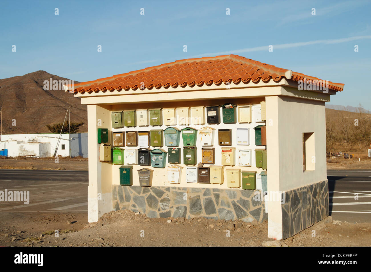 Mailboxes on bus shelter wall on Fuerteventura, Canary Islands, Spain - Stock Image