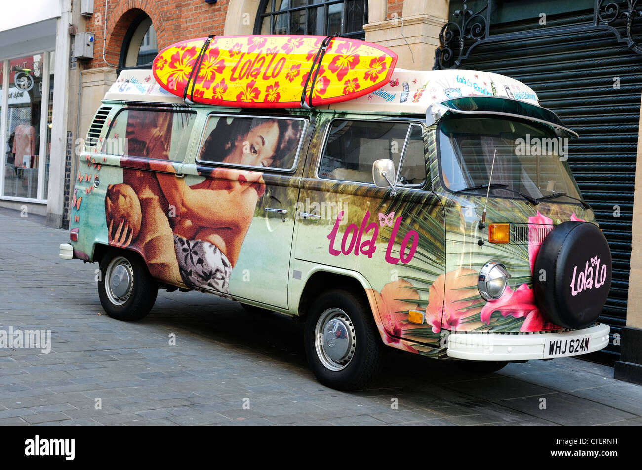 f000fe72c707ae VW Camper Van Parked Outside Store Used For Advertising. - Stock Image