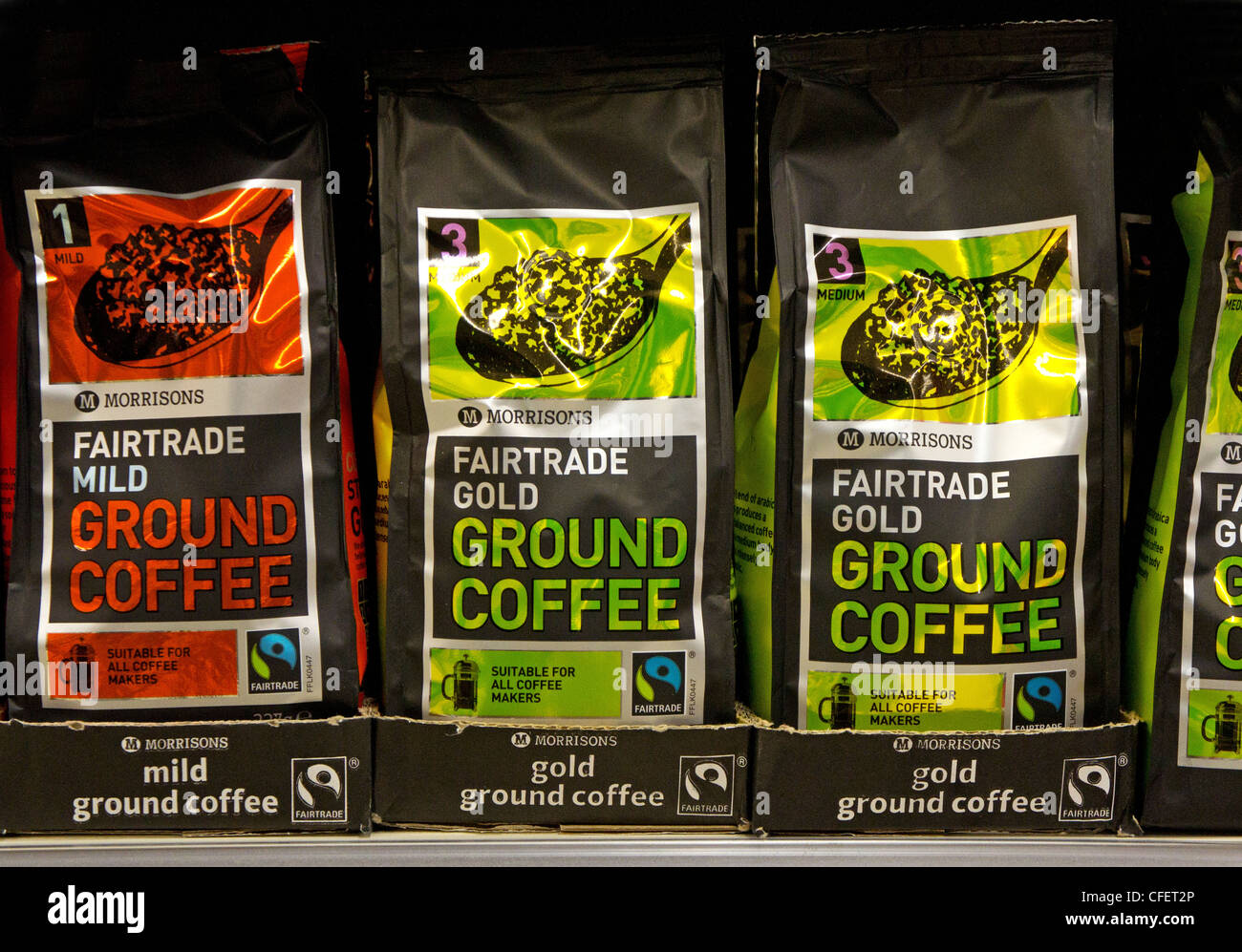 Morrisons own brand Fairtrade ground coffee - Stock Image