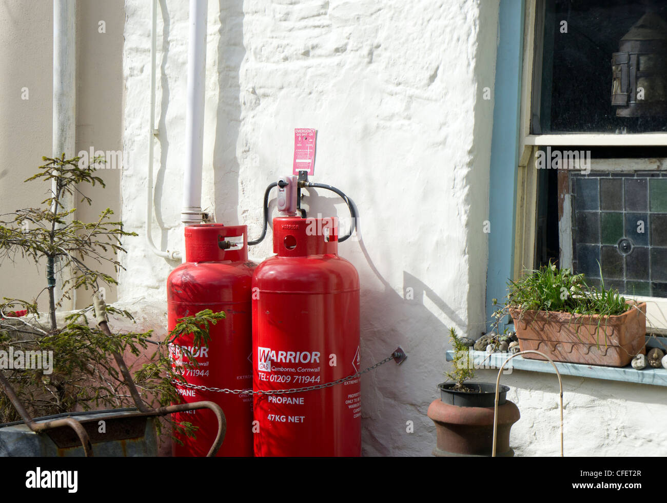 Propane gas bottles being used to supply gas for domestic cooking in a cottage in cornwall, uk - Stock Image