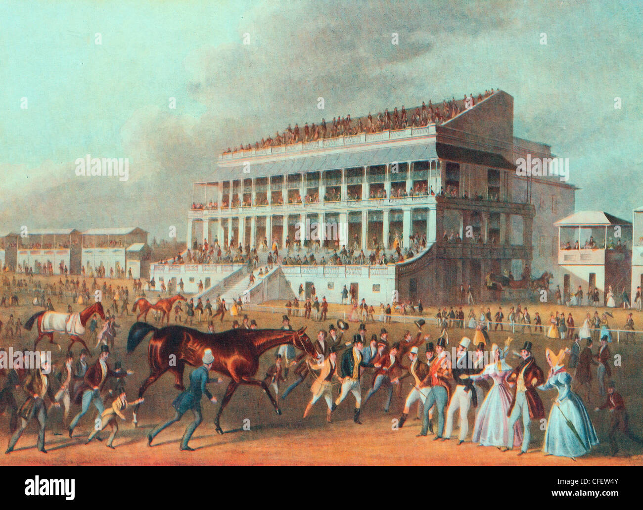 Epsom Grand stands - Winner of the Derby Race, 1836 - Stock Image