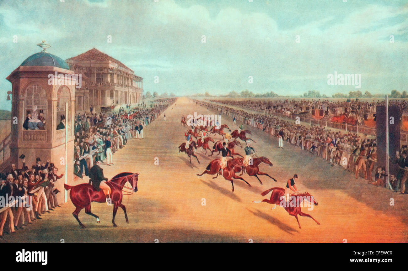Race for the Great St. Leger Stakes, 1836 - Who is the winner - Stock Image