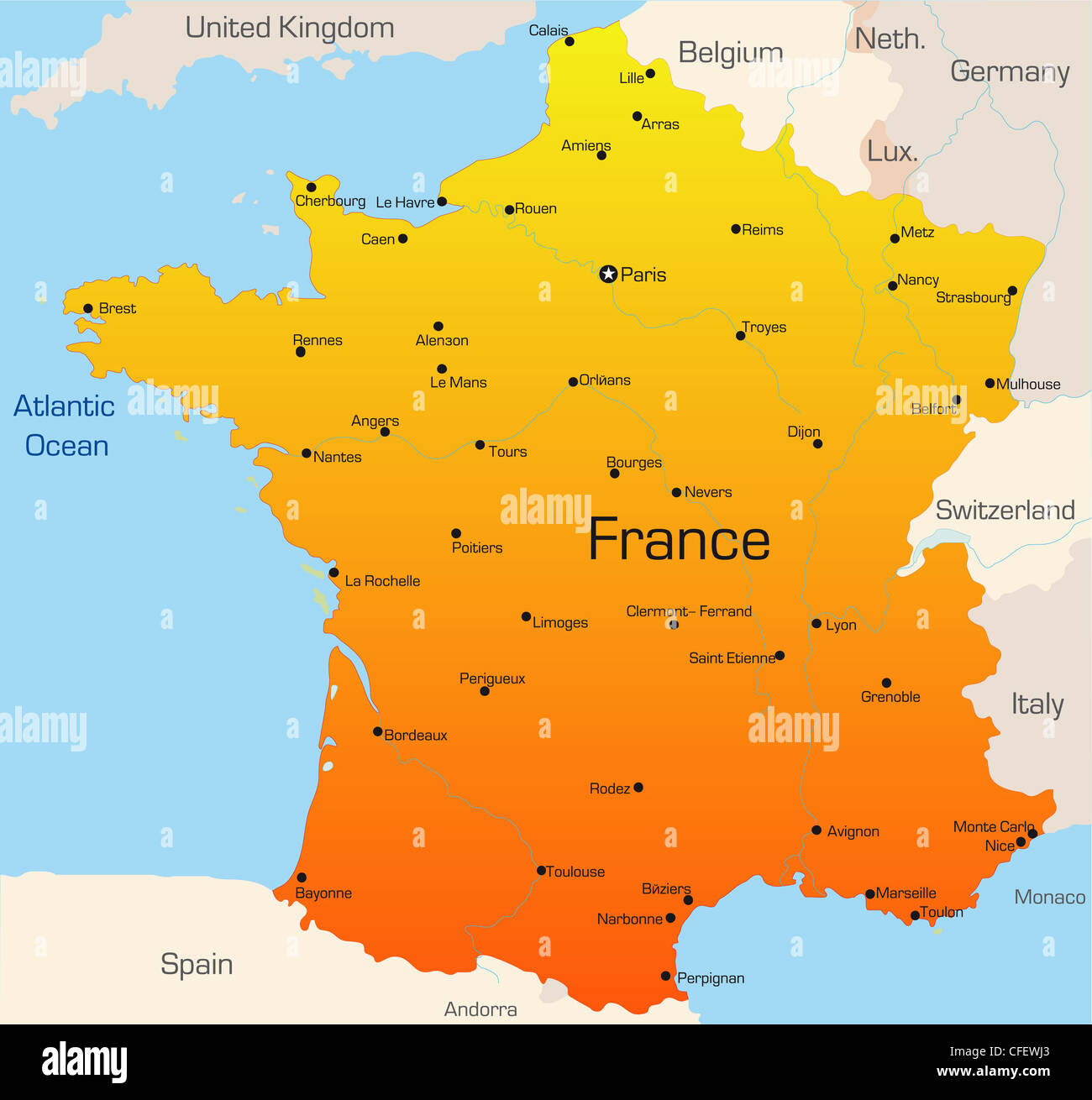 Abstract vector color map of France country Stock Photo 43968011