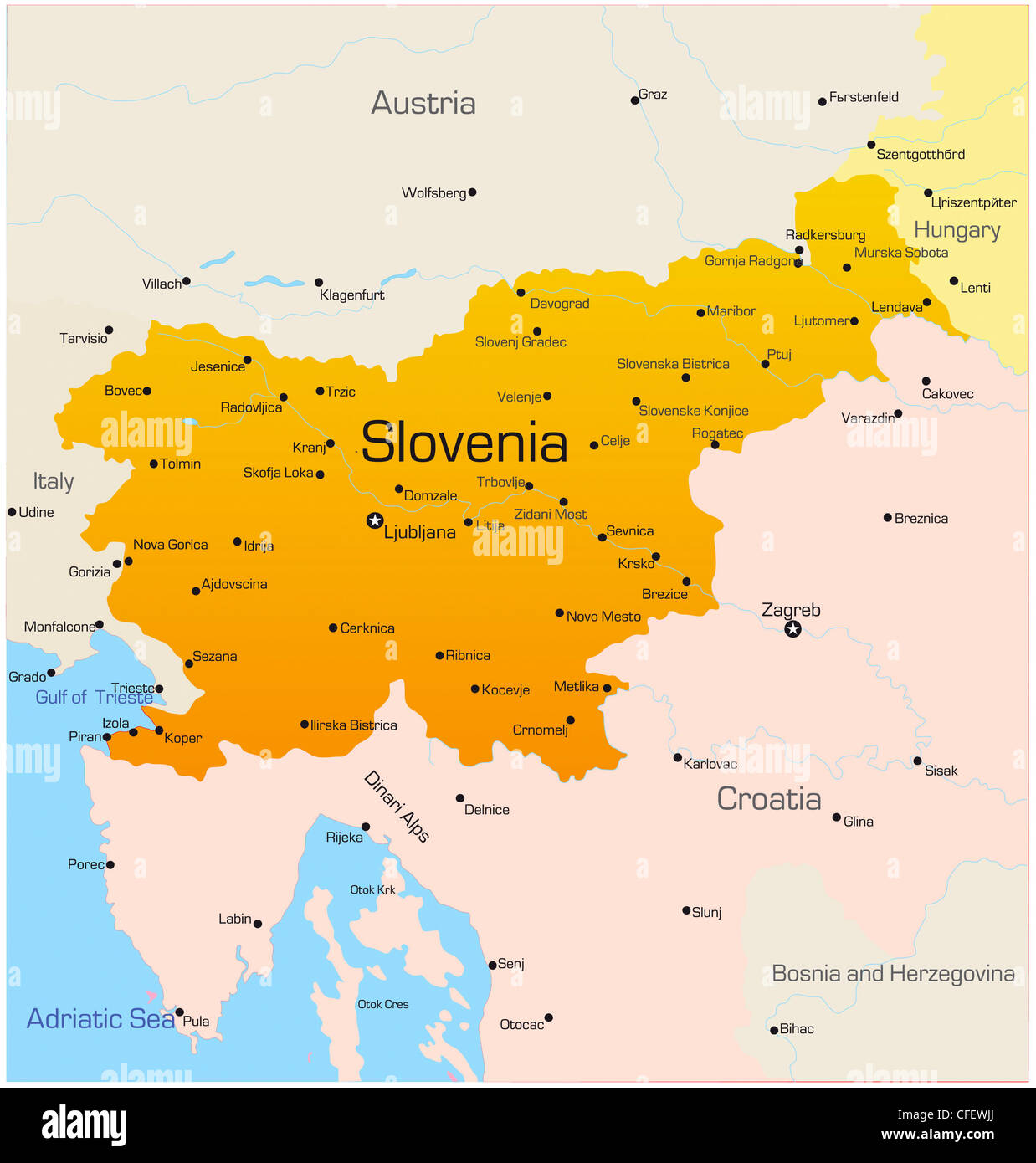 Picture of: Abstract Vector Color Map Of Slovenia Country Stock Photo Alamy