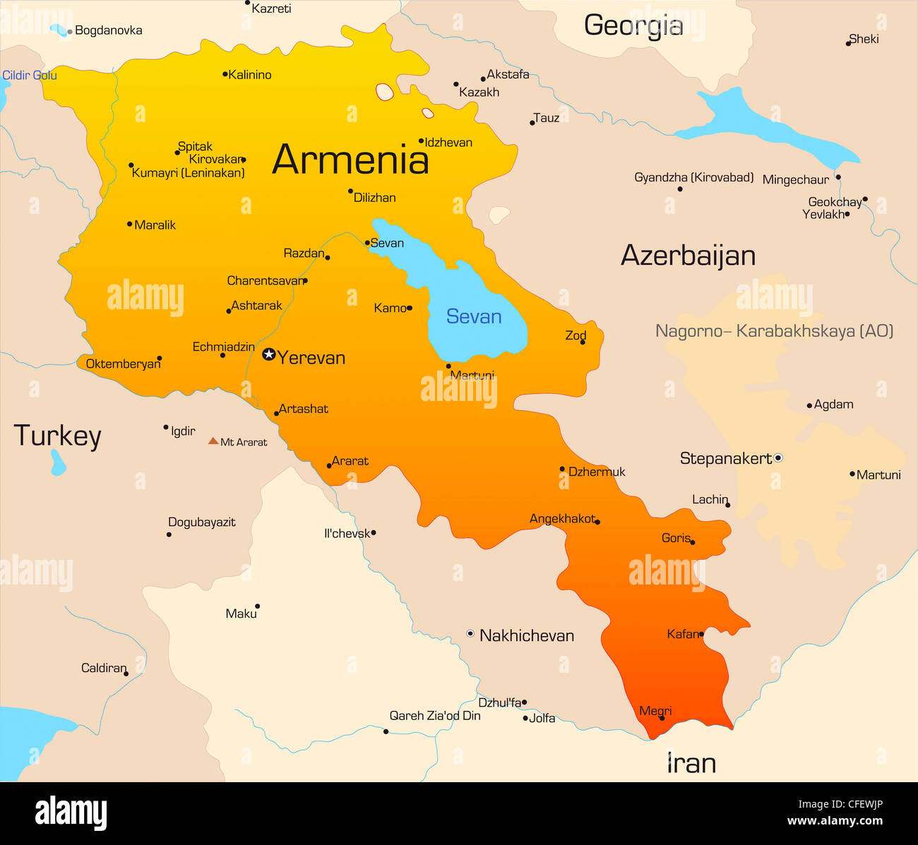Abstract vector color map of Armenia country Stock Photo ...