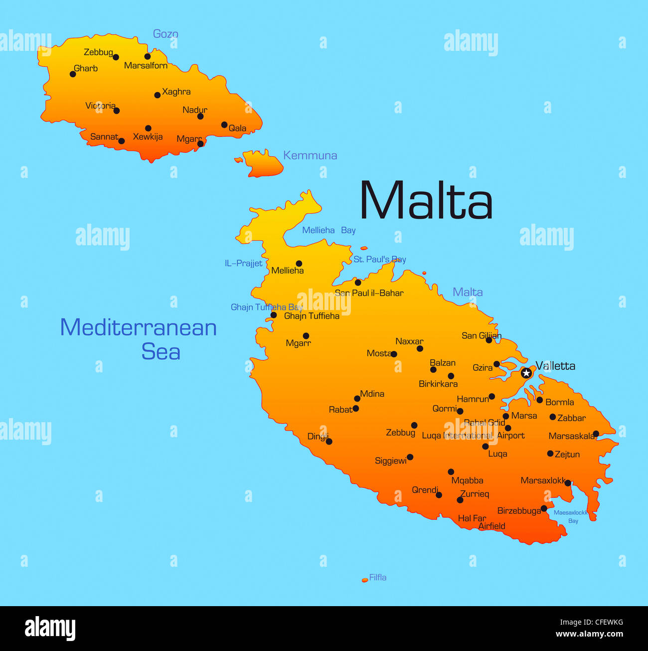 Abstract vector color map of Malta country Stock Photo ...