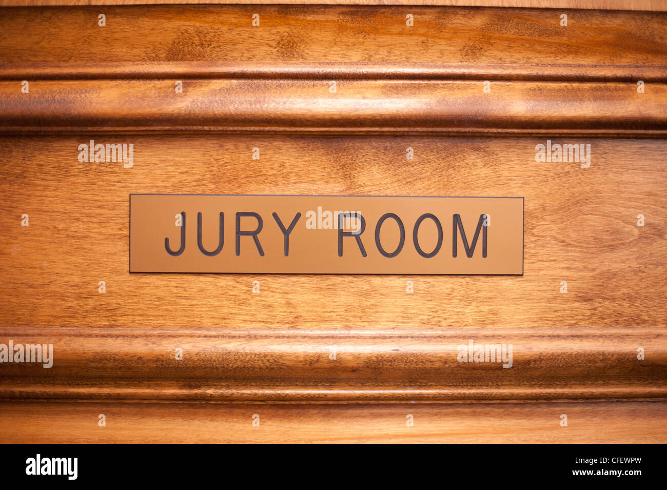 Jury room door in a courthouse. - Stock Image