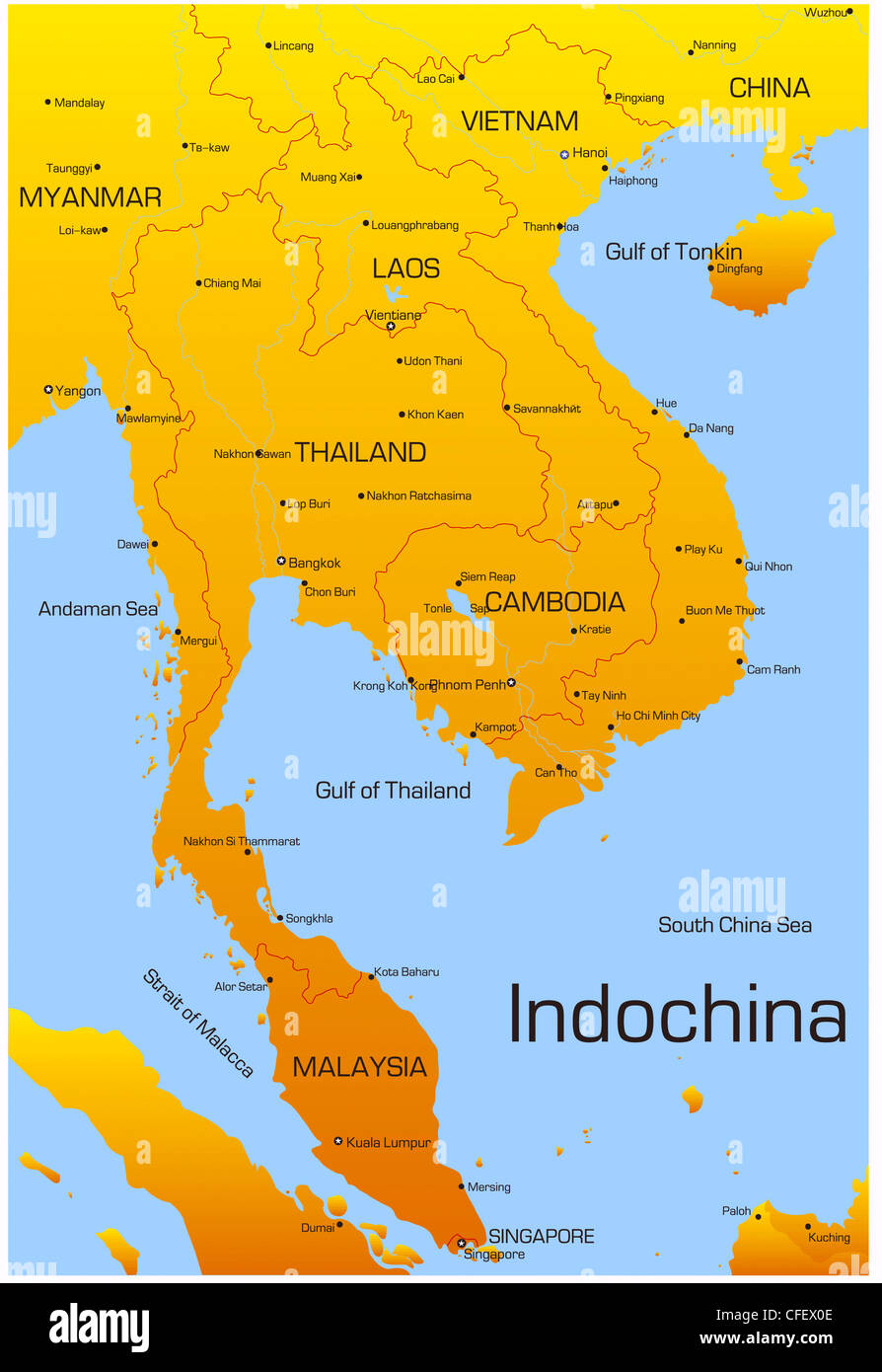Vector map of Indochina countries Stock Photo