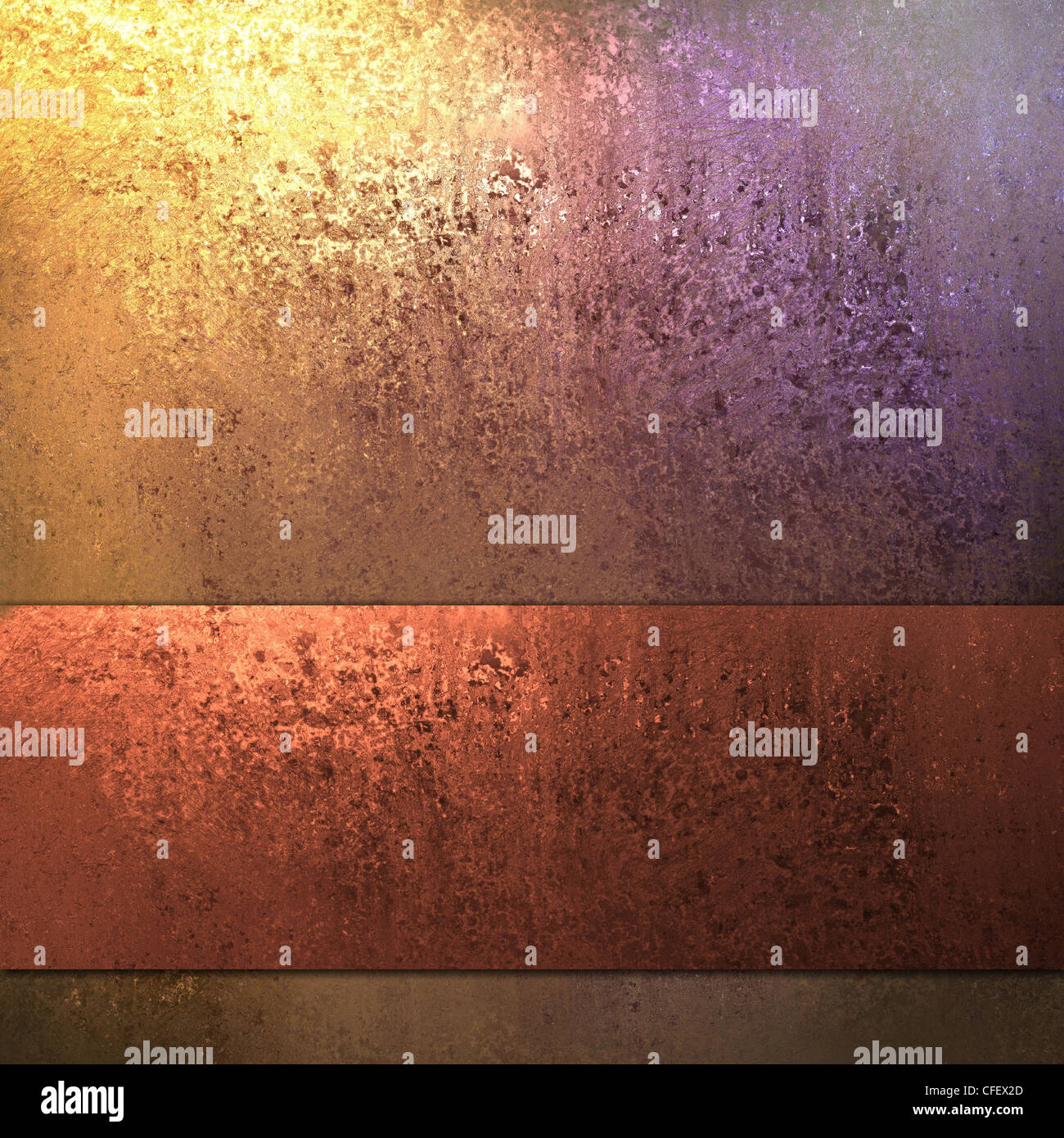 old red and gold background with vintage grunge texture - Stock Image