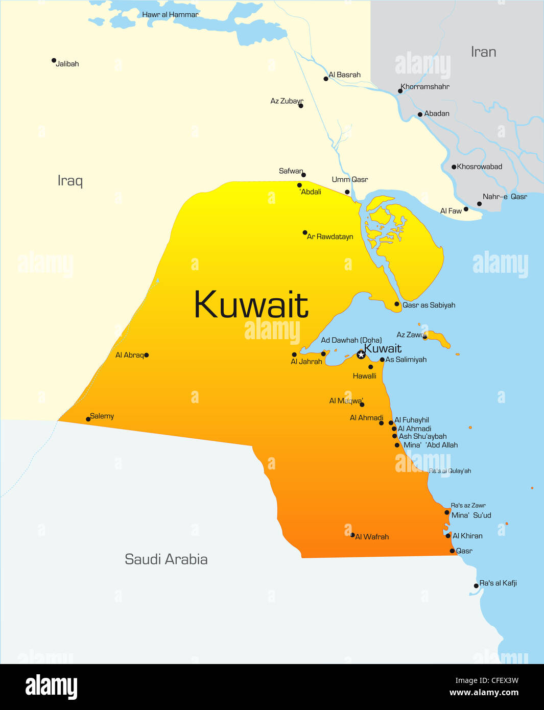 Abstract vector color map of Kuwait country Stock Photo ...