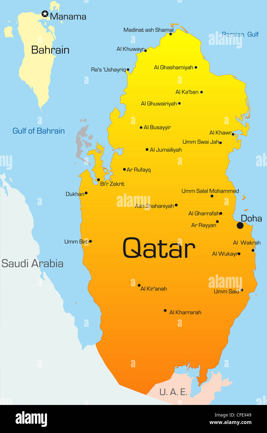 Abstract vector color map of Qatar country Stock Photo ... on nigeria in the world map, albania in the world map, paraguay in the world map, sweden in the world map, fiji in the world map, saudi arabia in the world map, mongolia in the world map, georgia in the world map, slovenia in the world map, estonia in the world map, north sea in the world map, west indies in the world map, argelia in the world map, dominican republic in the world map, east asia in the world map, abu dhabi in the world map, great britain in the world map, arctic ocean in the world map, united kingdom in the world map, all countries in the world map,