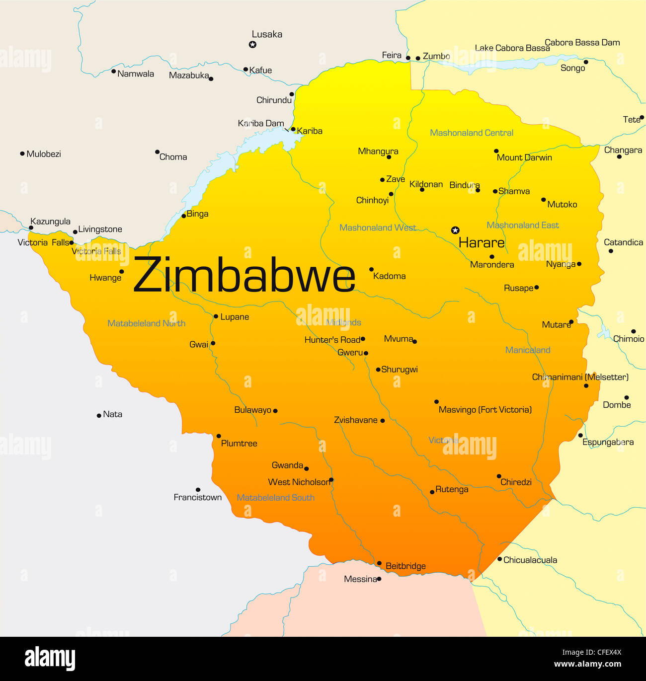 Map Zimbabwe.Abstract Vector Color Map Of Zimbabwe Country Stock Photo 43968426