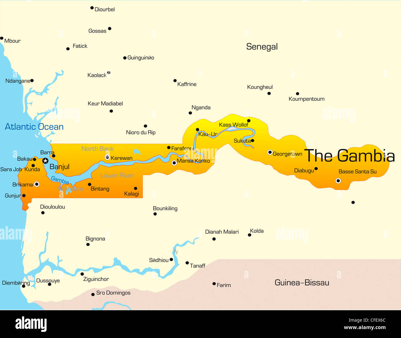 Gambia West Africa Map.Abstract Vector Color Map Of Gambia Country Stock Photo