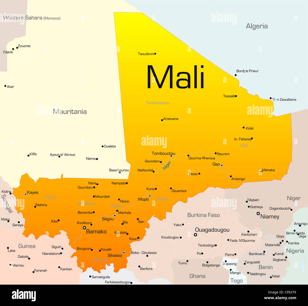 Abstract vector color map of Mali country Stock Photo: 43968493 - Alamy