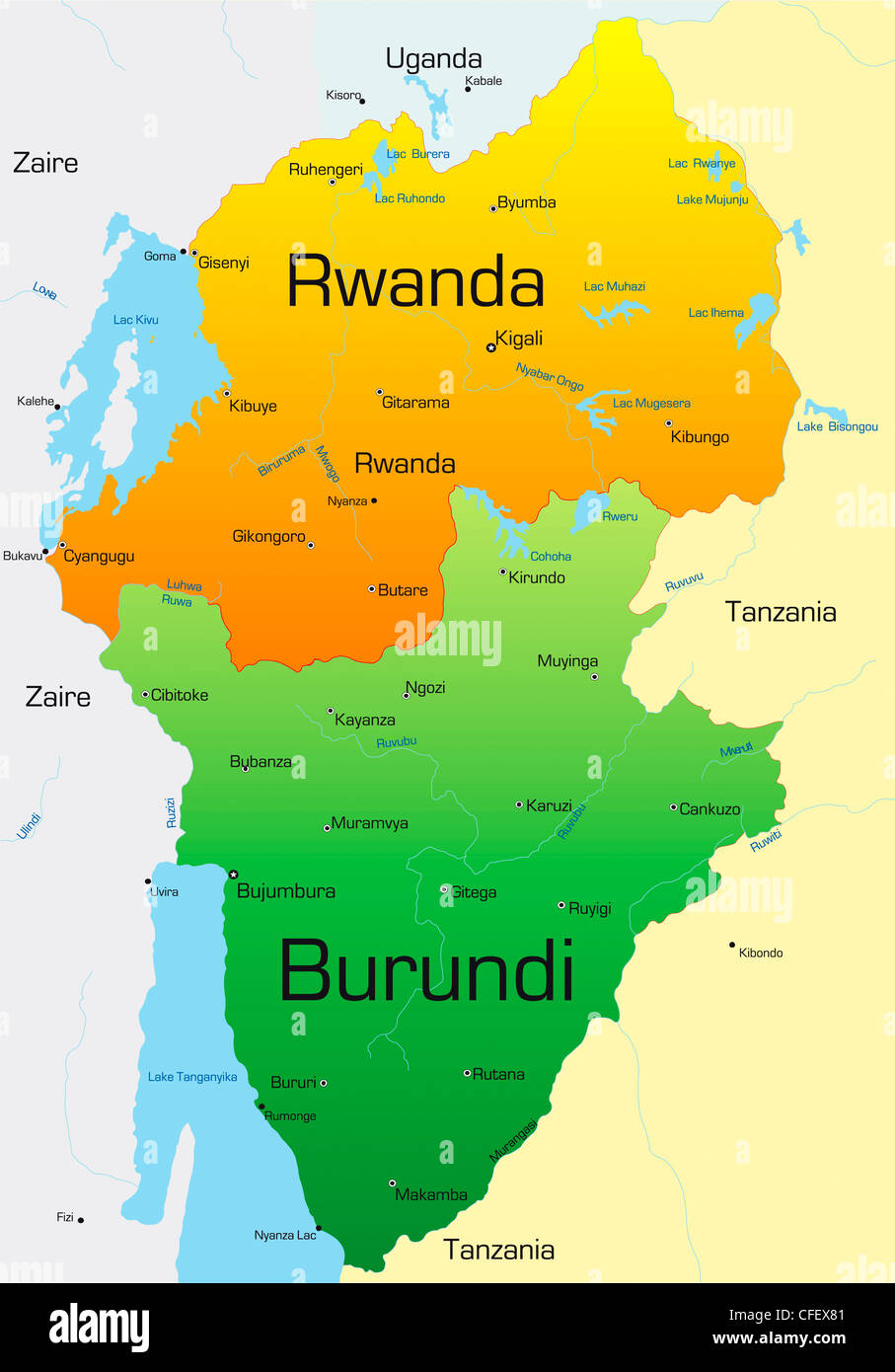 Image of: Abstract Vector Color Map Of Rwanda And Burundi Country Stock Photo Alamy