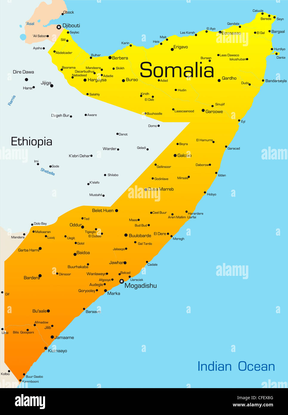 Abstract vector color map of Somalia Stock Photo: 43968528 ...