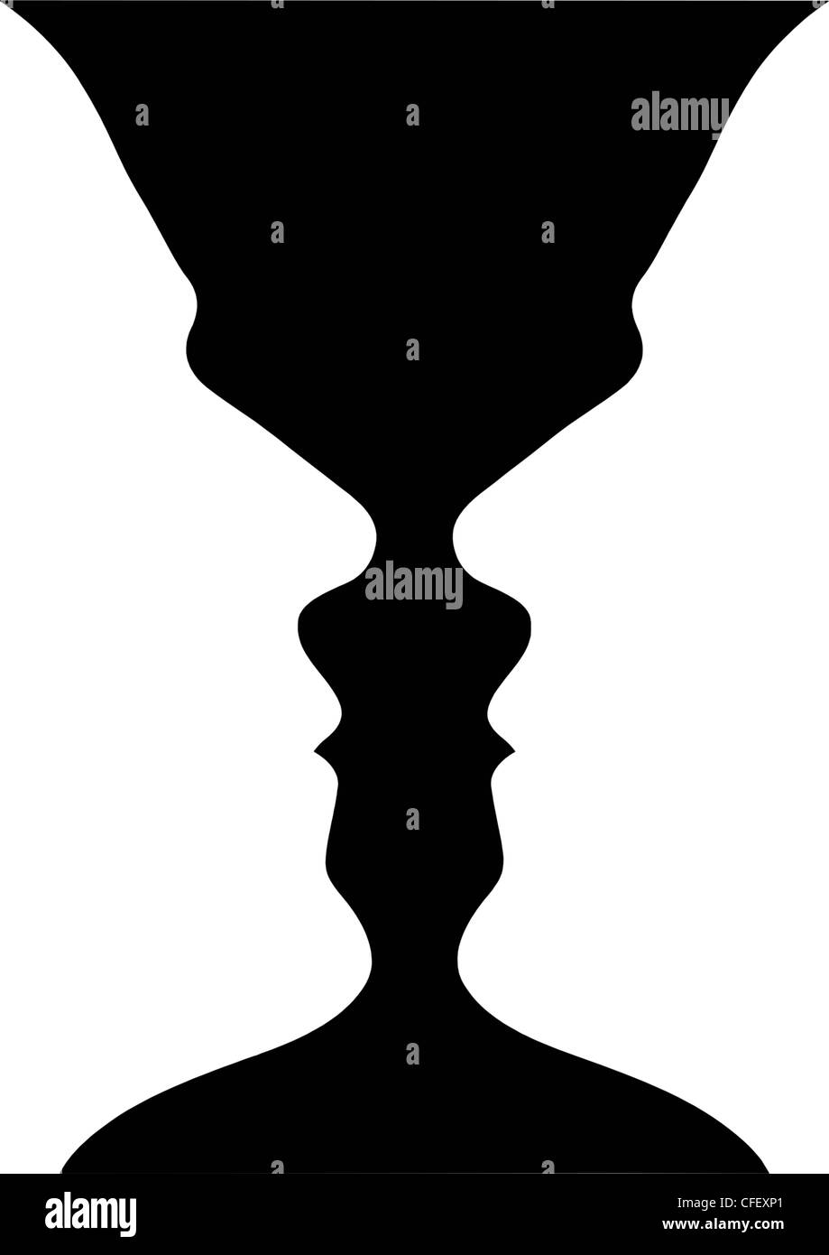 optical illusion of a vase with blue yellow background or two people facing each other Stock Photo