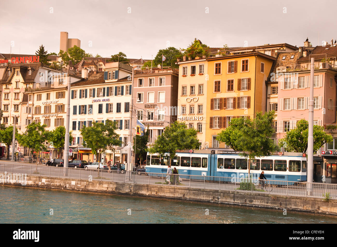 Buildings on the Limmat River, Old Town, Zurich, Switzerland, Europe - Stock Image