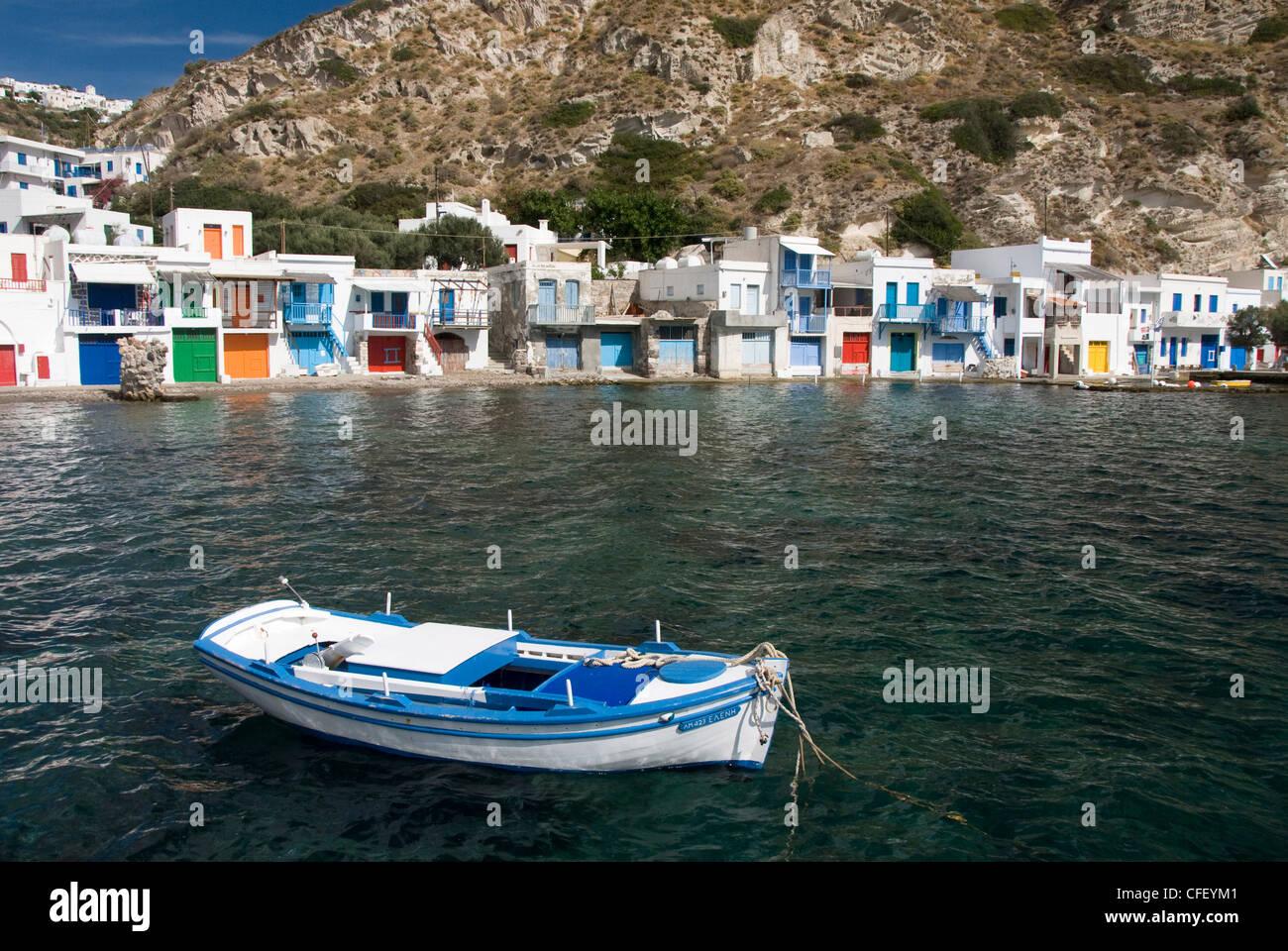 The village of Klima, Island of Milos, Cyclades, Greek Islands, Greece, Europe - Stock Image