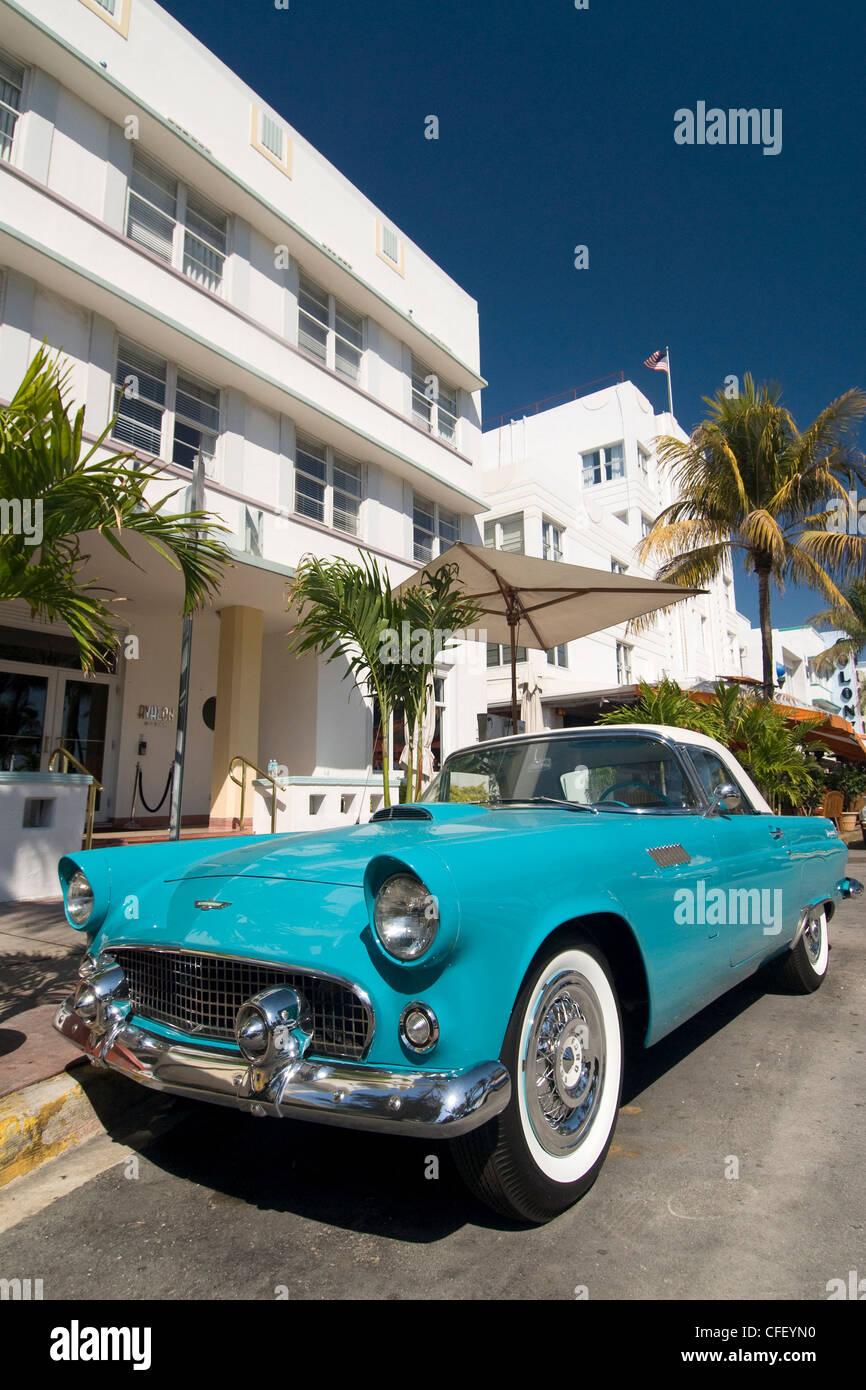 Classic antique Thunderbird, Art Deco District, South Beach, Miami, Florida, United States of America, - Stock Image