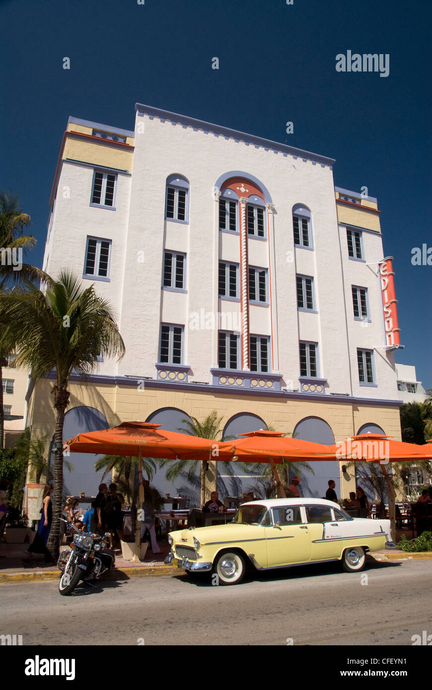 Classic,with old Chevrolet, Art Deco District, South Beach, Miami, Florida, United States of America, - Stock Image