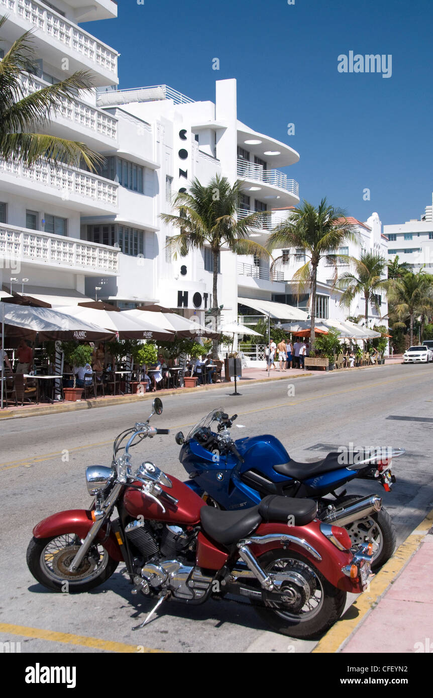 Motorcycles, Art Deco District, South Beach, Miami, Florida, United States of America, - Stock Image