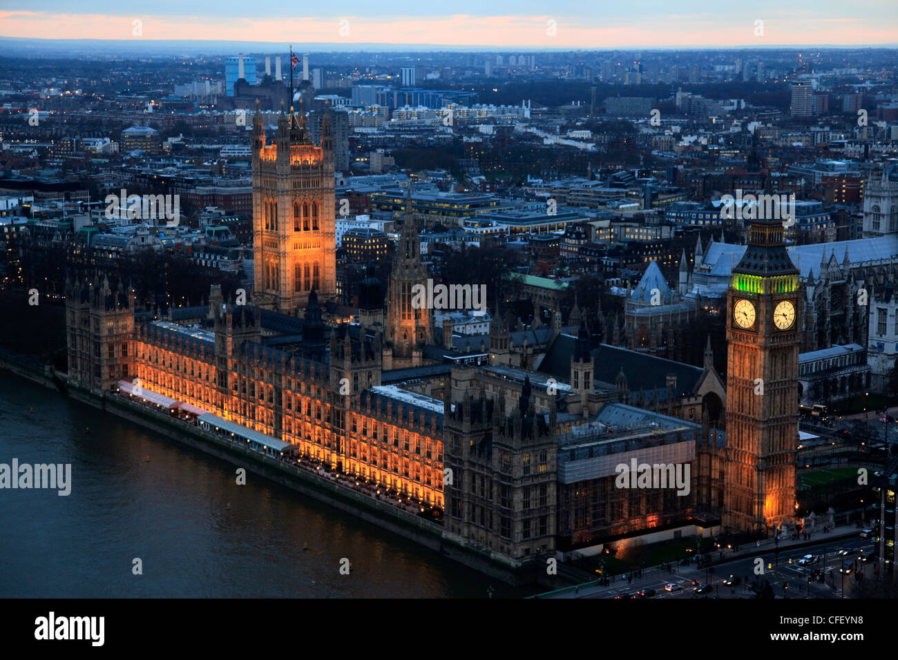 Aerial view of the Palace of Westminster and Big Ben in central London from high over the River Thames, London, Stock Photo