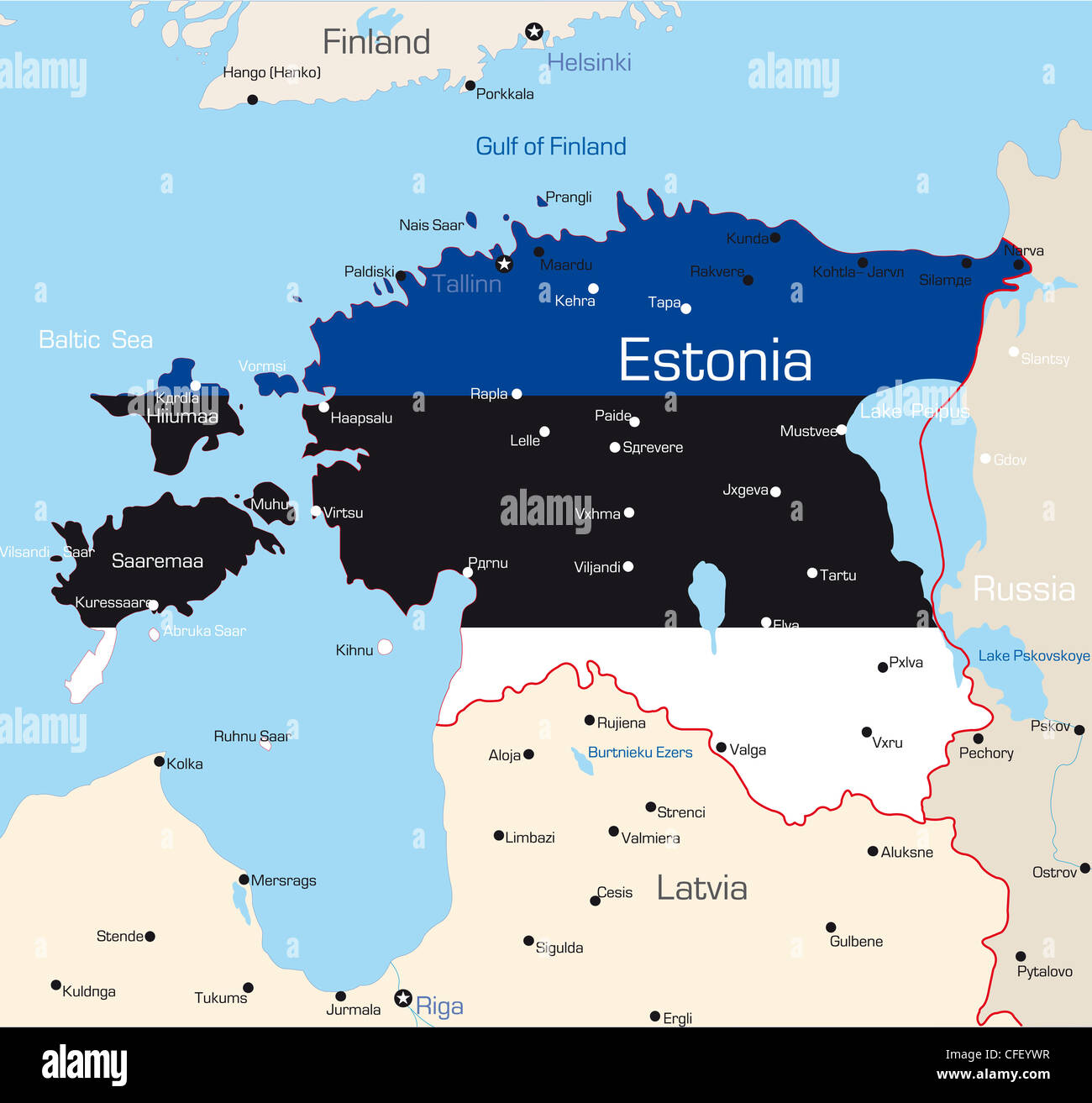 Abstract vector color map of estonia country coloured by national abstract vector color map of estonia country coloured by national flag gumiabroncs Choice Image