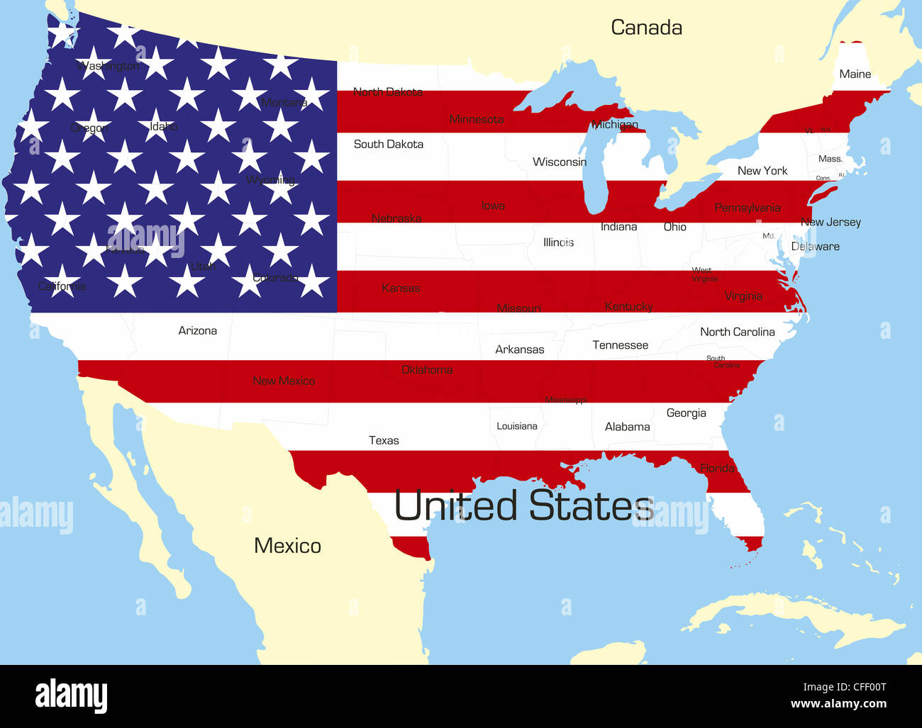 Abstract Vector Color Map Of Usa Country Coloured By National Flag