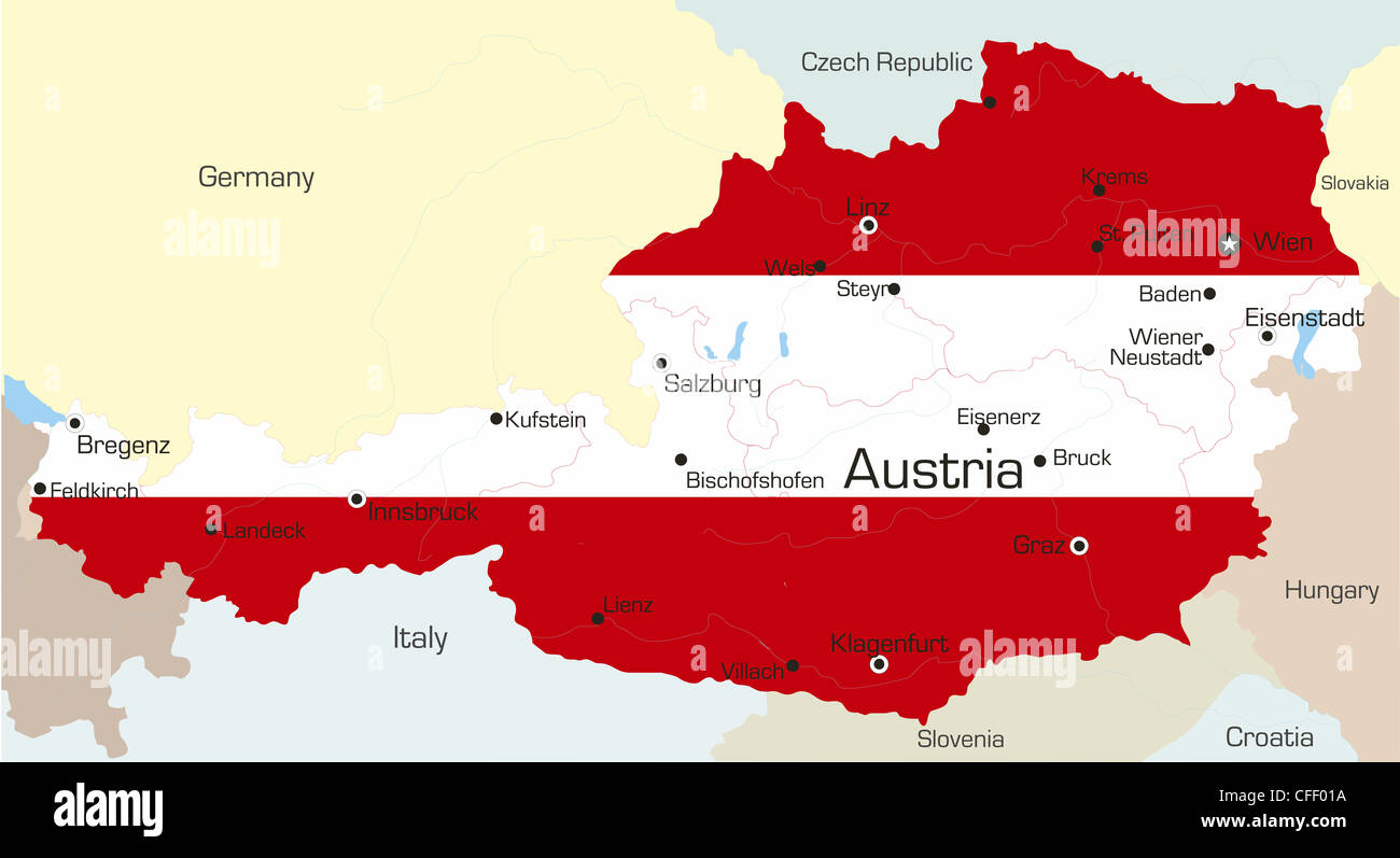 Image of: Abstract Vector Color Map Of Austria Country Coloured By National Stock Photo Alamy