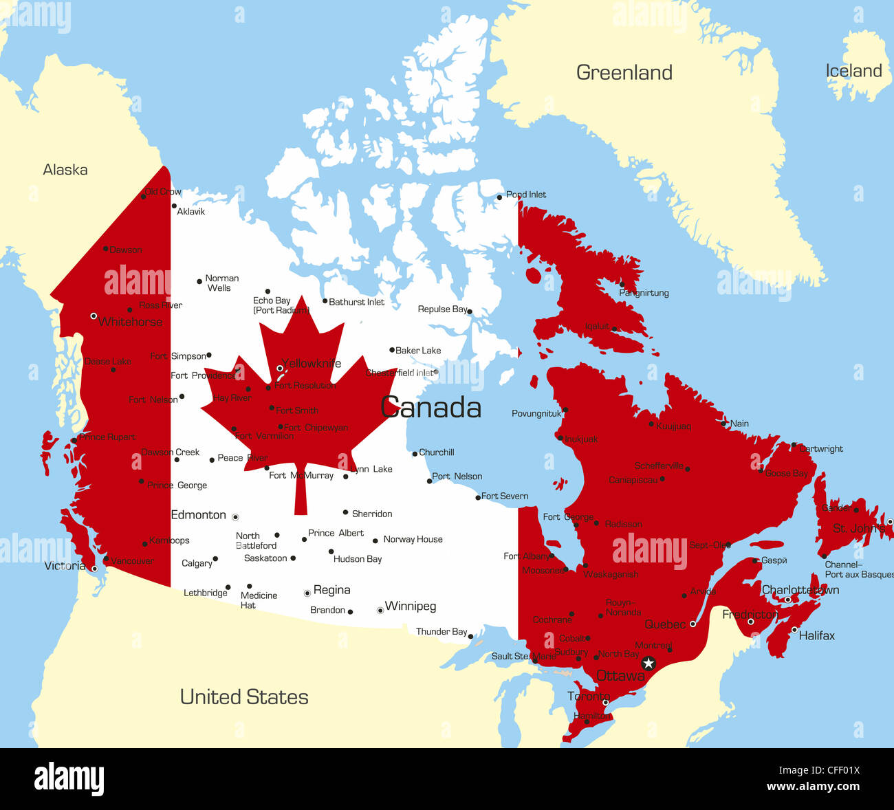 Map Of The Country Canada Abstract vector color map of Canada country coloured by national