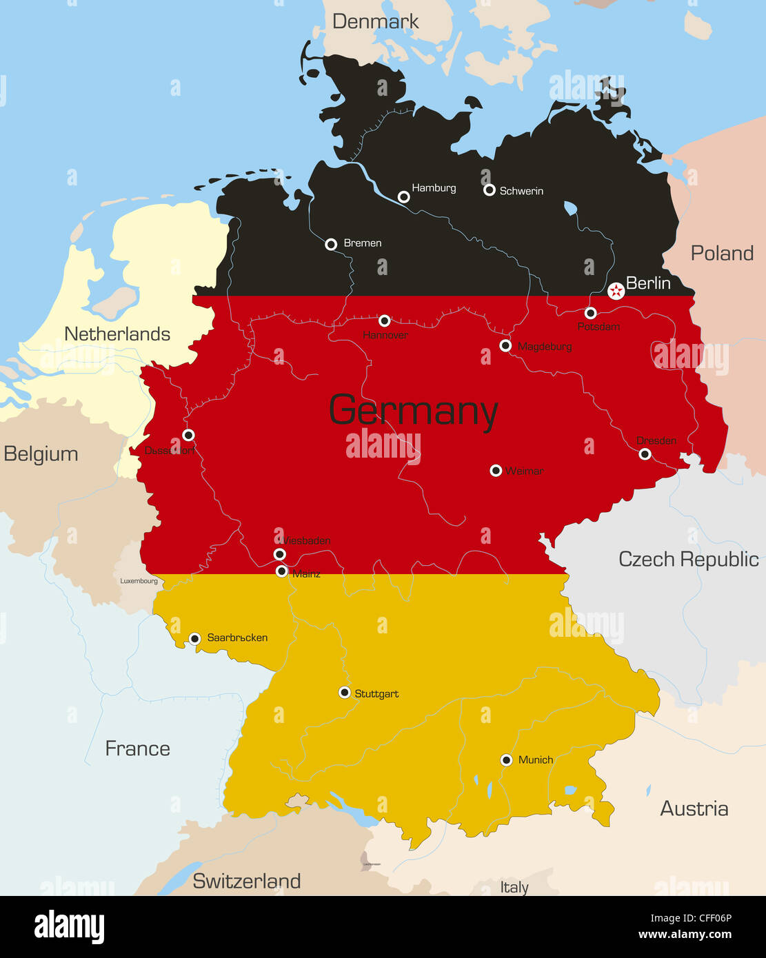 Abstract vector color map of germany country coloured by national abstract vector color map of germany country coloured by national flag gumiabroncs Images