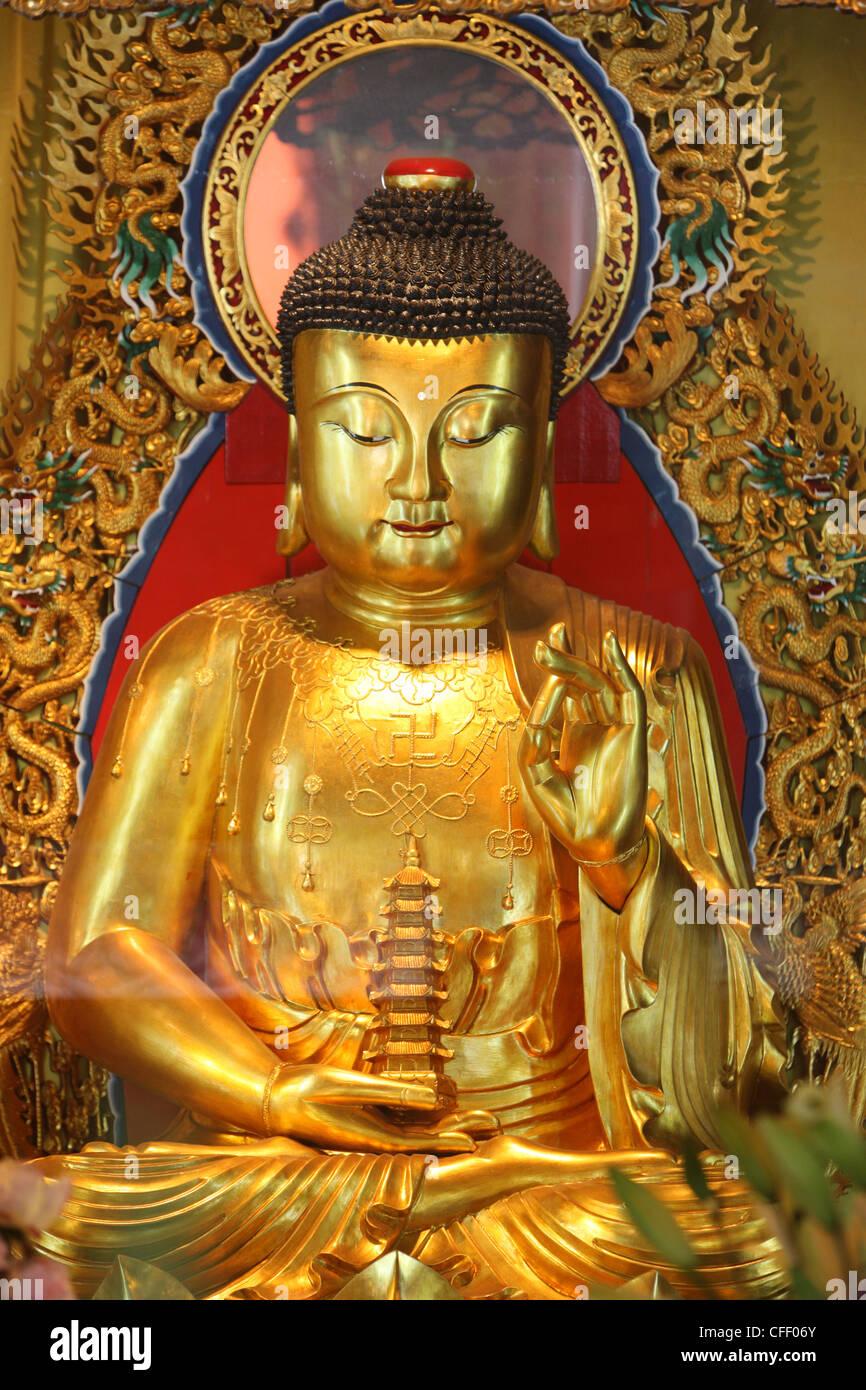 Shakyamuni Buddha statue in Main Hall, Po Lin Monastery, Tung Chung, Hong Kong, China, Asia - Stock Image