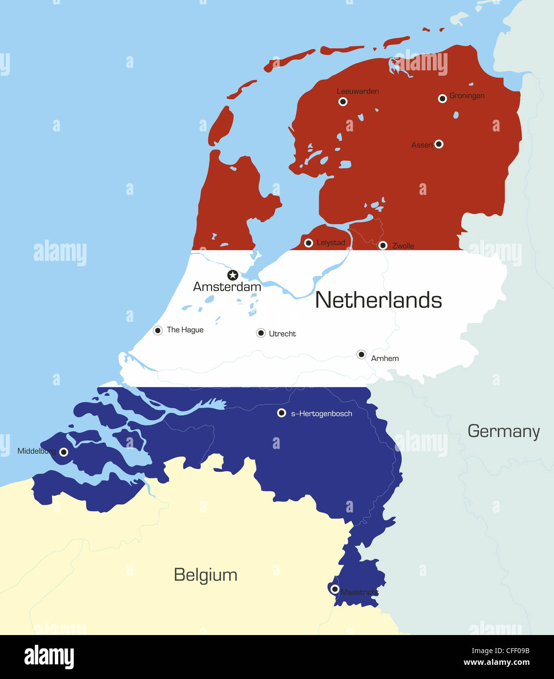 Abstract vector color map of Netherlands country coloured by ...