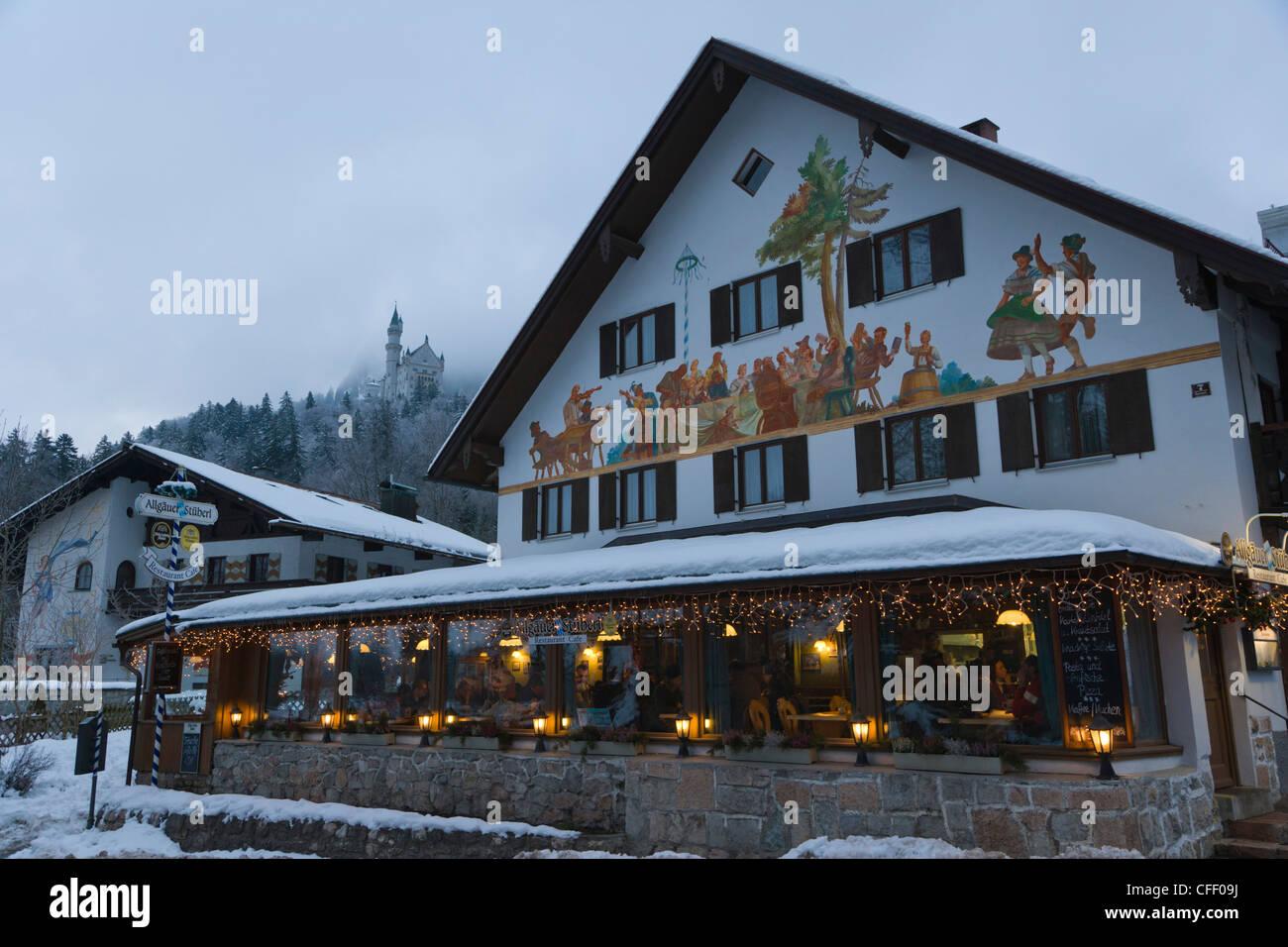 Allgauer Stuberl cafe, Alpseestrasse, Hohenschwangau village, Schwangau, Ostallgau, Bavaria, Germany, Winter Stock Photo