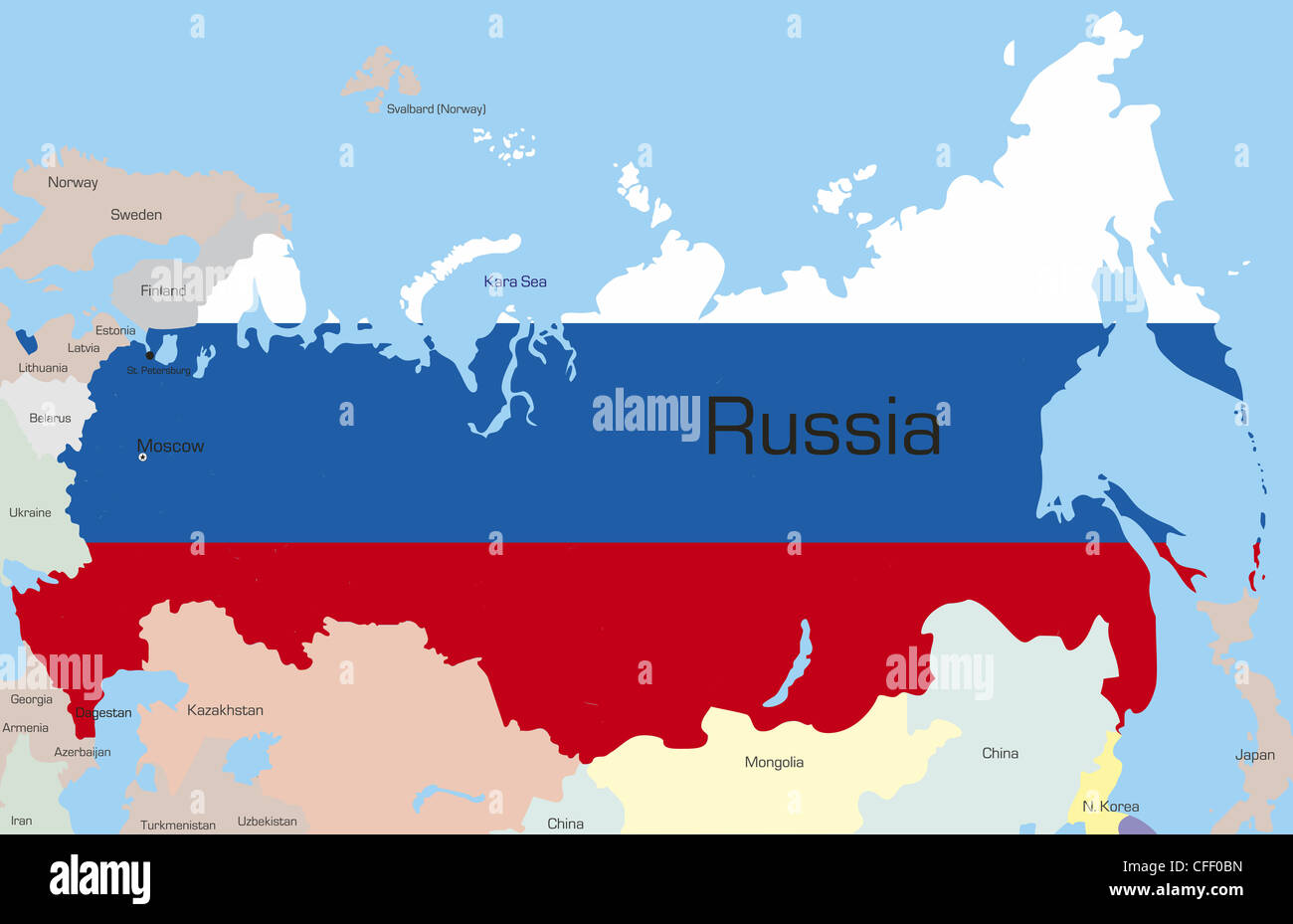 Abstract vector color map of russia country coloured by national abstract vector color map of russia country coloured by national flag gumiabroncs Images