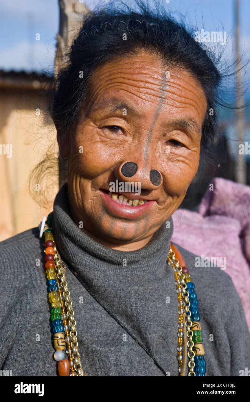 Old Woman Of The Apatani Tribe Famous For The Wooden