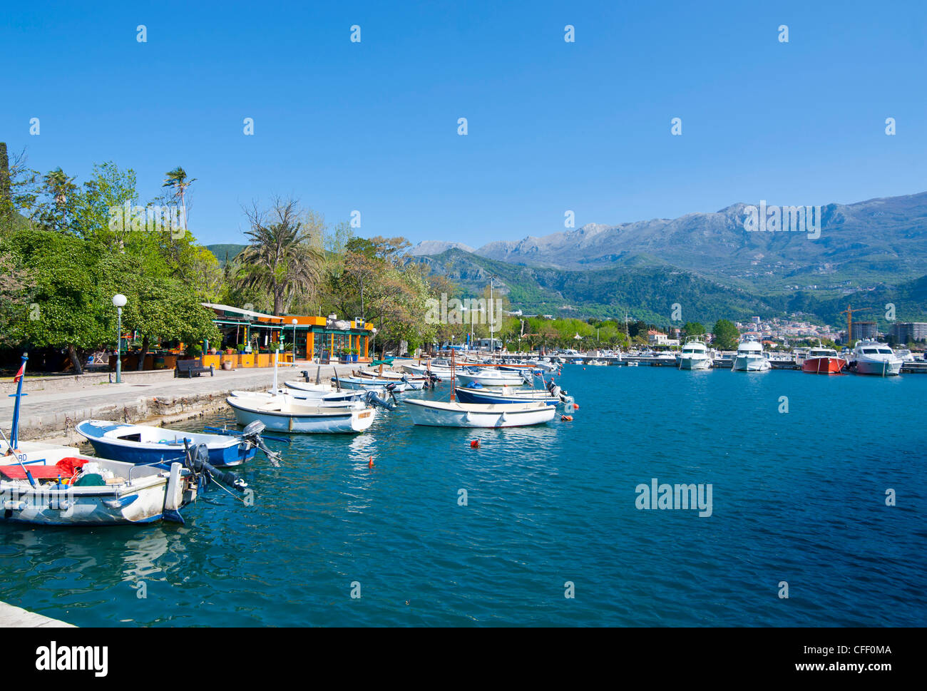 Little boats in the harbour of the old town of Budva, Montenegro, Europe - Stock Image